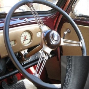 Austin Healey black Leather Steering Wheel Cover