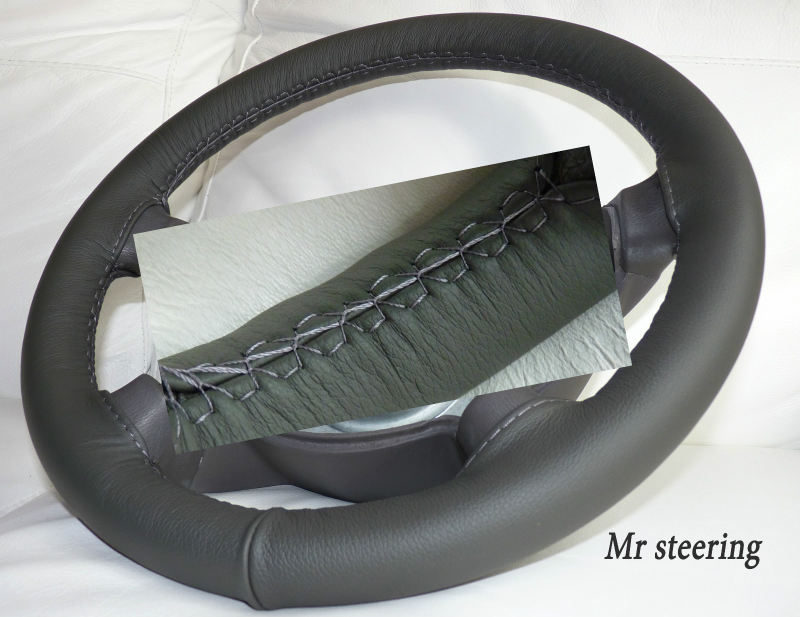 bmw x3 e83 100 real dark grey best quality leather steering wheel cover 2003 2008. Black Bedroom Furniture Sets. Home Design Ideas
