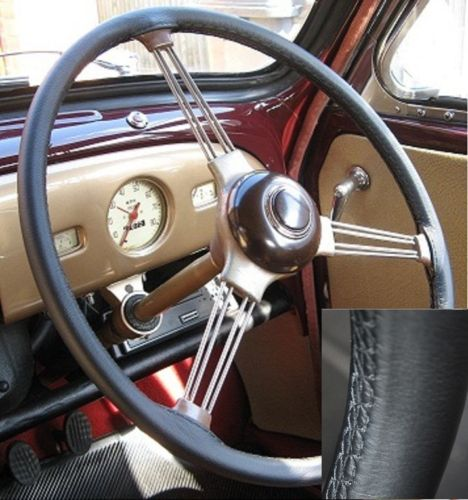 morris minor real black italian leather steering wheel cover 1948 1971. Black Bedroom Furniture Sets. Home Design Ideas