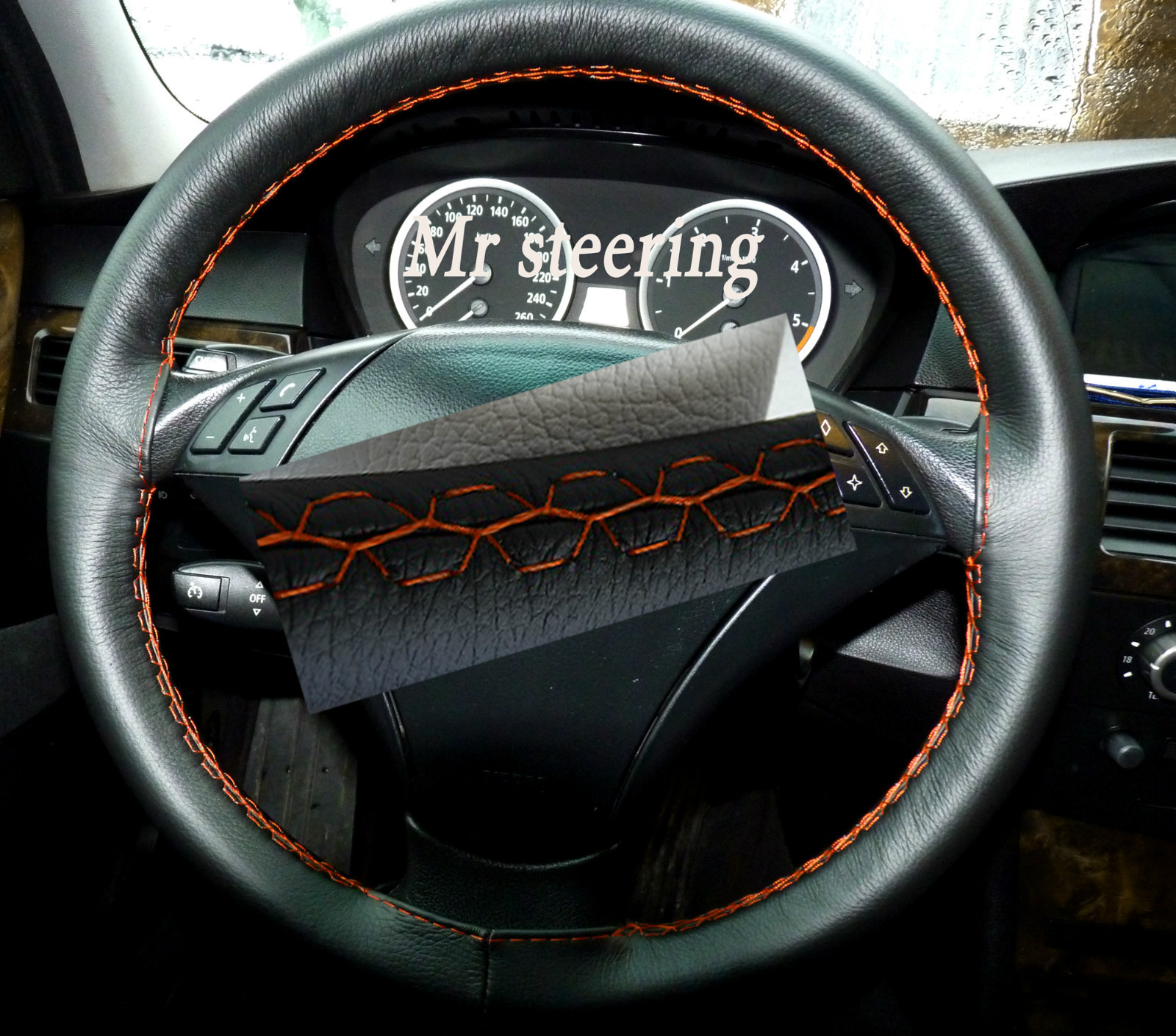 Bmw 3 Series E90 E91 Real Black Italian Leather Steering