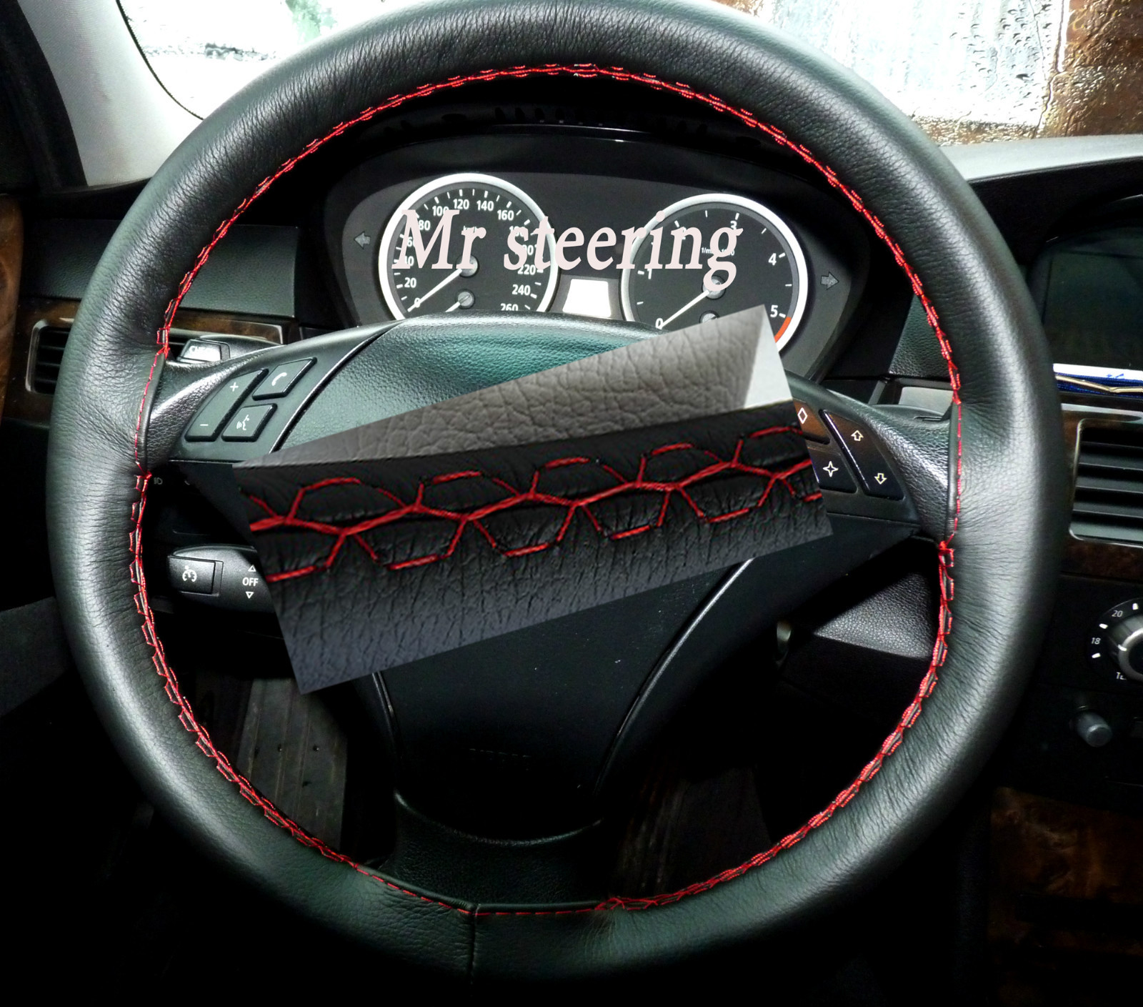 Bmw X3 E83 Real Black Leather Steering Wheel Cover Red