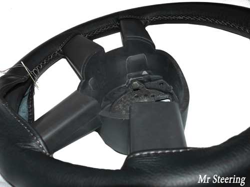 FITS FORD MONDEO MK4 BLACK LEATHER STEERING WHEEL COVER 2007-2012 GREY STITCHING