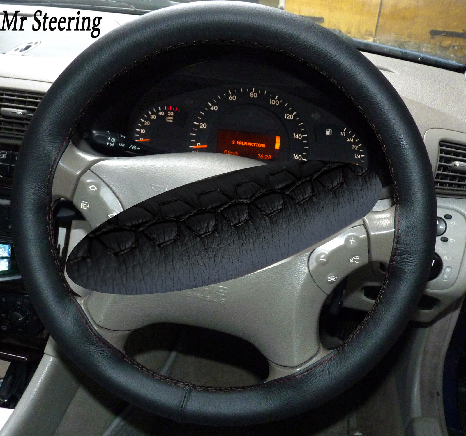 Mercedes w211 genuine leather steering wheel cover for Mercedes benz steering wheel cover