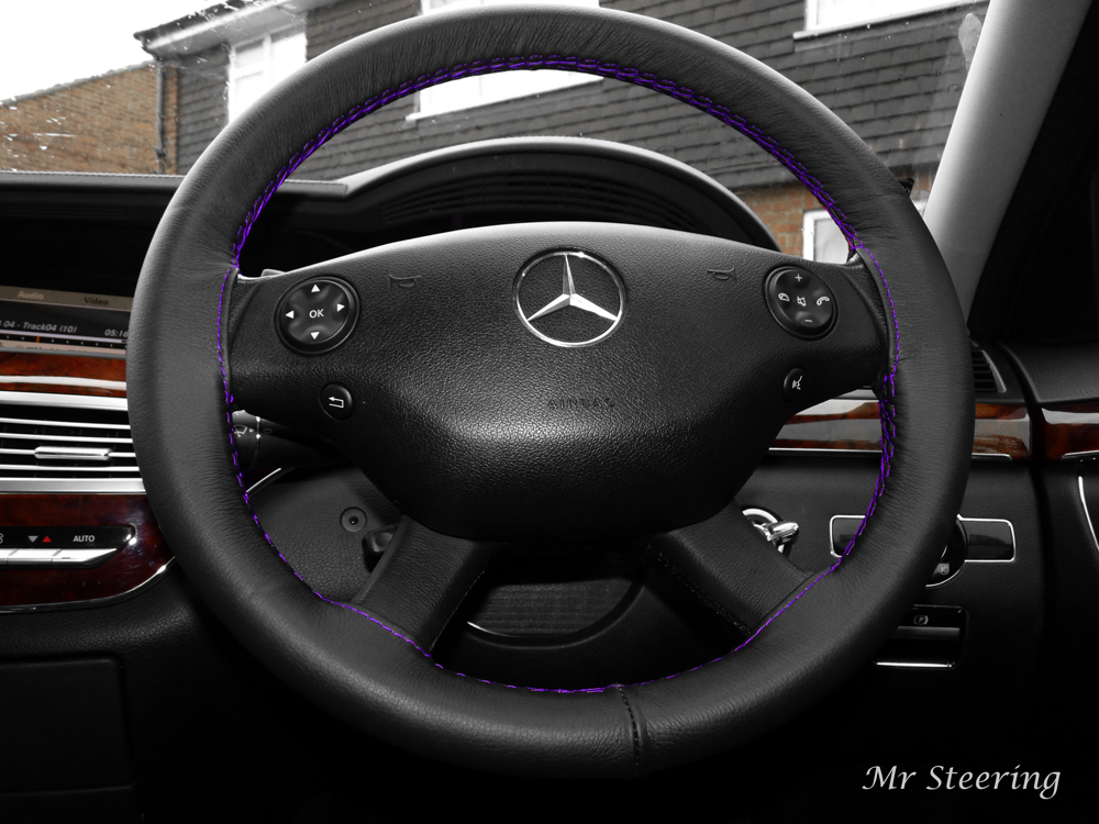 Mercedes vito 2 leather steering wheel cover purple stitch for Mercedes benz steering wheel covers