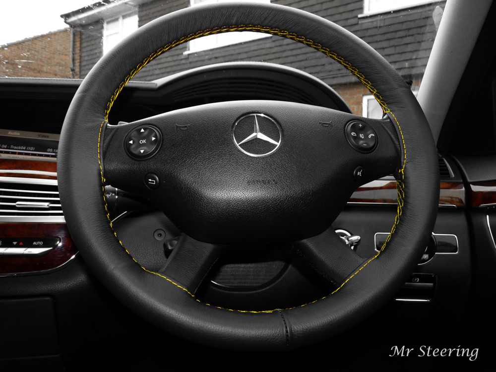 Mercedes vito 2 leather steering wheel cover yellow stitch for Mercedes benz steering wheel cover